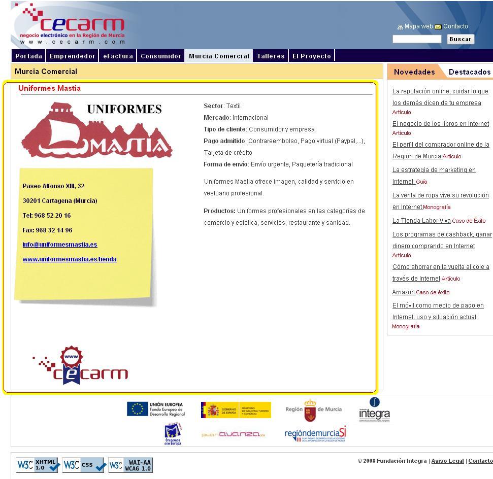 Uniformes Mastia en el portal Cecarm con el sello de calidad